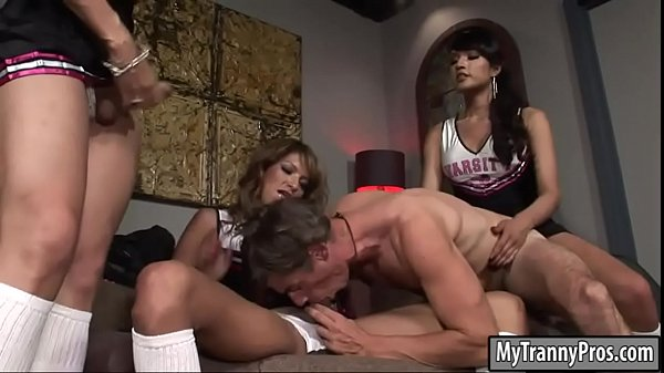 Shemale, Three, Shemale fucks guy, Cheerleaders